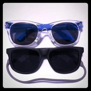 Cool baby sunglasses with strap.